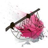 Poli bradipo basso sull'acquerello nero e rosa Immagine Stock