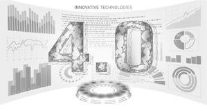 Poli concetto futuro basso della rivoluzione industriale industria 4 0 numeri hanno montato l'esposizione del hud Industria onlin illustrazione vettoriale