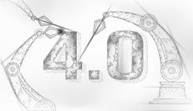 Poli concetto futuro basso della rivoluzione industriale industria 4 0 numeri montati dal braccio robot Industria online di tecno royalty illustrazione gratis