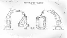 Poli concetto futuro basso della rivoluzione industriale industria 4 0 numeri montati dal braccio robot Industria online di tecno illustrazione vettoriale