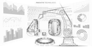 Poli concetto futuro basso della rivoluzione industriale industria 4 0 numeri montati dal braccio robot Industria online di tecno illustrazione di stock