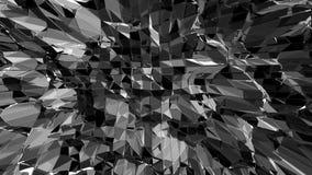 Poli 3D d'ondeggiamento basso in bianco e nero astratto di superficie come fondo di fantascienza Ambiente di vibrazione geometric royalty illustrazione gratis