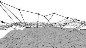 Poli 3D d'ondeggiamento basso in bianco e nero astratto di superficie come paesaggio fantastico Vibrazione geometrica astratta gr royalty illustrazione gratis