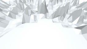 Poli 3D d'ondeggiamento basso in bianco e nero astratto di superficie come paesaggio o video gioco Vibrazione geometrica astratta royalty illustrazione gratis