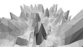 Poli 3D d'ondeggiamento basso in bianco e nero pulito astratto di superficie come contesto luminoso Ambiente di vibrazione geomet royalty illustrazione gratis