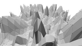Poli 3D d'ondeggiamento basso in bianco e nero pulito astratto di superficie come contesto semplice Ambiente di vibrazione geomet illustrazione di stock