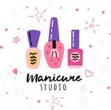 Poli de signe de logo de studio de manucure de salon d'ongle illustration stock