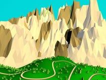 Poli fondo basso delle montagne Immagine Stock