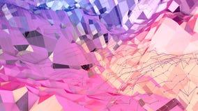 Poli fondo basso geometrico molle di moto con i poligoni puri di rosso blu Superficie bassa semplice astratta 3D di rosso blu pol royalty illustrazione gratis