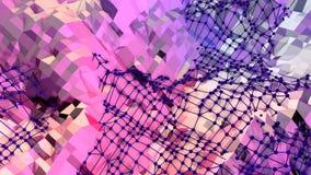 Poli fondo basso geometrico molle di moto con i poligoni puri di rosso blu Superficie bassa semplice astratta 3D di rosso blu pol illustrazione vettoriale