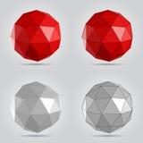 Poli illustrazione astratta bassa rossa e grigia di vettore della sfera Immagine Stock