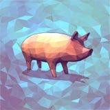 Poli maiale basso del grafico 3D su fondo blu Fotografia Stock Libera da Diritti