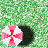Poli ombrello basso stando sull'erba con l'ombrello e l'ombra Fotografia Stock Libera da Diritti