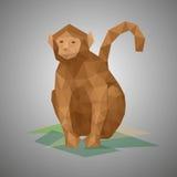 poli scimmia bassa Illustrazione di vettore nello stile poligonale Fotografie Stock