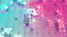 Poli superficie bassa 3D con la griglia o la maglia di volo e sfere nere come ambiente chimico Poli basso geometrico morbido royalty illustrazione gratis
