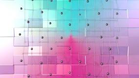 Poli superficie bassa 3D con la griglia o la maglia di volo e sfere nere come ambiente futuristico Poli basso geometrico morbido illustrazione vettoriale