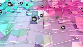 Poli superficie bassa 3D con la griglia o la maglia di volo e sfere nere come ambiente di per la matematica Poli fondo basso geom illustrazione di stock