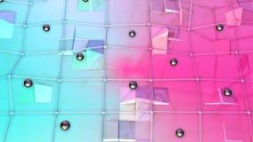 Poli superficie bassa 3D con la griglia o la maglia di volo e sfere nere come cellula di cristallo Poli fondo basso geometrico mo illustrazione vettoriale