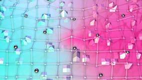 Poli superficie bassa 3D con la griglia o la maglia di volo e sfere nere come griglia di cristallo Poli fondo basso geometrico mo royalty illustrazione gratis