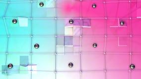 Poli superficie bassa 3D con la griglia o la maglia di volo e sfere nere come maglia di cristallo Poli fondo basso geometrico mol illustrazione vettoriale