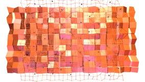 Poli superficie bassa 3D con la griglia o la maglia di volo e sfere nere come Cyberspace futuristico Poli basso geometrico morbid illustrazione vettoriale