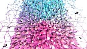 Poli superficie bassa 3D con la griglia o la maglia di volo e sfere nere come fondo alla moda 3D Poli basso geometrico morbido illustrazione vettoriale