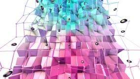 Poli superficie bassa 3D con la griglia o la maglia di volo e sfere nere come fondo di complessità Poli basso geometrico morbido illustrazione vettoriale
