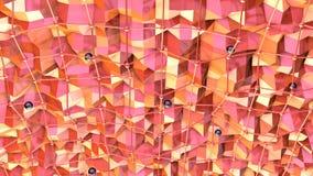 Poli superficie bassa 3D con la griglia o la maglia di volo e sfere nere come fondo cyber Poli fondo basso geometrico molle illustrazione di stock