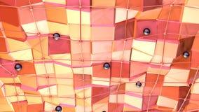 Poli superficie bassa 3D con la griglia o la maglia di volo e sfere nere come fondo elegante Poli fondo basso geometrico molle illustrazione vettoriale