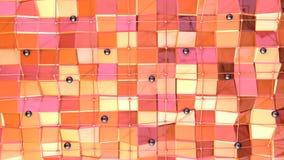 Poli superficie bassa 3D con la griglia o la maglia di volo e sfere nere come fondo molecolare Poli basso geometrico morbido royalty illustrazione gratis