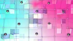 Poli superficie bassa 3D con la griglia o la maglia di volo e sfere nere come griglia geometrica Poli fondo basso geometrico moll royalty illustrazione gratis