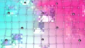 Poli superficie bassa 3D con la griglia o la maglia di volo e sfere nere come maglia geometrica Poli fondo basso geometrico molle illustrazione vettoriale