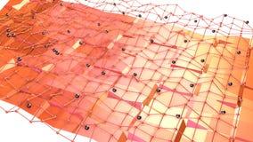 Poli superficie bassa 3D con la griglia o la maglia di volo e sfere nere come visualizzazione matematica Poli basso geometrico mo illustrazione vettoriale