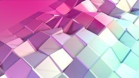 Poli superficie bassa rosa blu semplice astratta 3D come ambiente di per la matematica Poli fondo basso geometrico molle di moto  illustrazione di stock