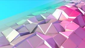 Poli superficie bassa rosa blu semplice astratta 3D come ambiente futuristico Poli fondo basso molle di moto di spostamento illustrazione di stock