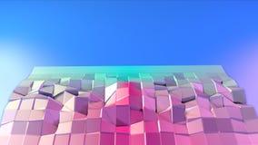 Poli superficie bassa rosa blu semplice astratta 3D come Cyberspace futuristico Poli fondo basso molle di moto di spostamento pur royalty illustrazione gratis