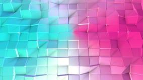 Poli superficie bassa rosa blu semplice astratta 3D come struttura dell'atomo Poli fondo basso geometrico molle di moto di sposta royalty illustrazione gratis