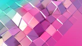 Poli superficie bassa rosa blu semplice astratta 3D come visualizzazione matematica Poli fondo basso molle di moto di spostamento illustrazione di stock