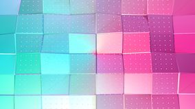 Poli superficie bassa rosa blu semplice astratta 3D e cristalli bianchi volanti come griglia di cristallo Poli basso geometrico m illustrazione di stock