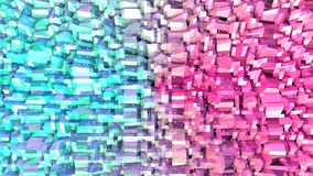 Poli superficie bassa rosa blu semplice astratta 3D e cristalli bianchi volanti come maglia di cristallo Poli basso geometrico mo royalty illustrazione gratis