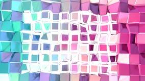 Poli superficie bassa rosa blu semplice astratta di spaccatura 3D come griglia geometrica Poli fondo basso molle di moto di spost illustrazione vettoriale