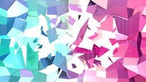 Poli superficie bassa rosa blu semplice astratta di spaccatura 3D e cristalli bianchi volanti come cellula di cristallo Poli bass royalty illustrazione gratis