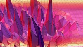 Poli superficie d'ondeggiamento bassa astratta viola come fondo di arte Ambiente di vibrazione geometrico astratto viola o palpit illustrazione di stock