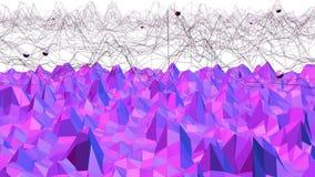Poli superficie d'ondeggiamento bassa astratta viola come fondo di frattale Ambiente di vibrazione geometrico astratto viola o illustrazione di stock