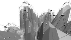 Poli superficie d'ondeggiamento bassa in bianco e nero astratta come ambiente di fantasia Ambiente di vibrazione geometrico astra royalty illustrazione gratis