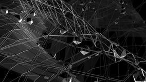 Poli superficie d'ondeggiamento bassa in bianco e nero astratta come ambiente vivo Ambiente di vibrazione geometrico astratto gri illustrazione vettoriale