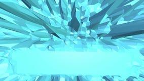 Poli superficie d'ondeggiamento bassa metallica blu come ambiente Ambiente di vibrazione geometrico poligonale blu o palpitare illustrazione di stock