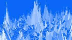 Poli superficie d'ondeggiamento bassa metallica blu come ambiente di fantasia Ambiente di vibrazione geometrico poligonale blu o  illustrazione vettoriale