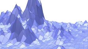 Poli superficie d'ondeggiamento bassa metallica blu come fondo di complessità Ambiente di vibrazione geometrico poligonale blu o illustrazione vettoriale