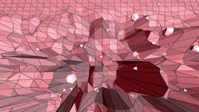 Poli superficie d'ondeggiamento bassa ottimistica o rosa come fondo cibernetico Ambiente di vibrazione geometrico poligonale ross illustrazione di stock